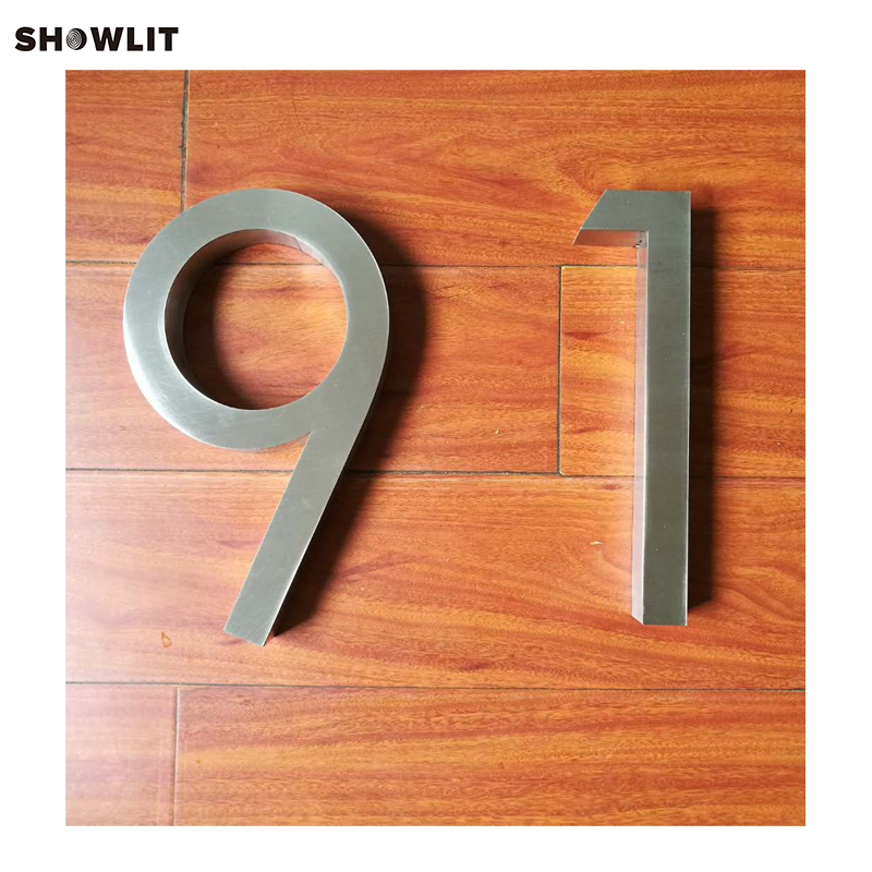 8'' height Custom Made Brushed Stainless Steel House Numbers popular brushed stainless steel led backlit house numbers
