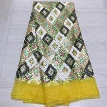 Мода желтый цвет африканский кружевной тюль с африканскими пайетками французский тюль кружева ткани для свадебного платья MXE02