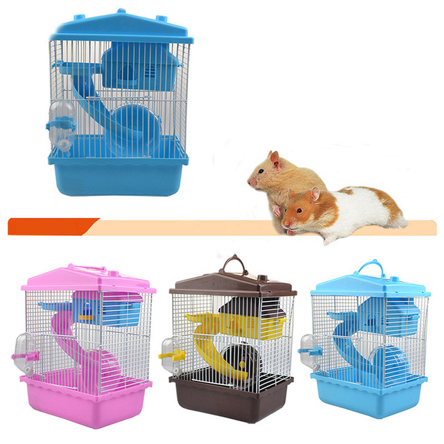 Pet Cage Hamster Pet  Hamster Cottage Transparent Skylight Double Layer  Luxury House Portable Mice Home Habitat Decoration