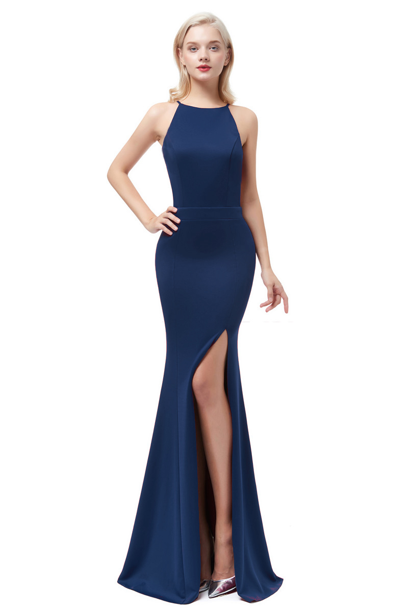 Navy Blue Sexy Sation Mermaid   Evening     Dresses   2019 Long O Neck Formal   Evening   Gowns Party Prom Formal Party   Dresses