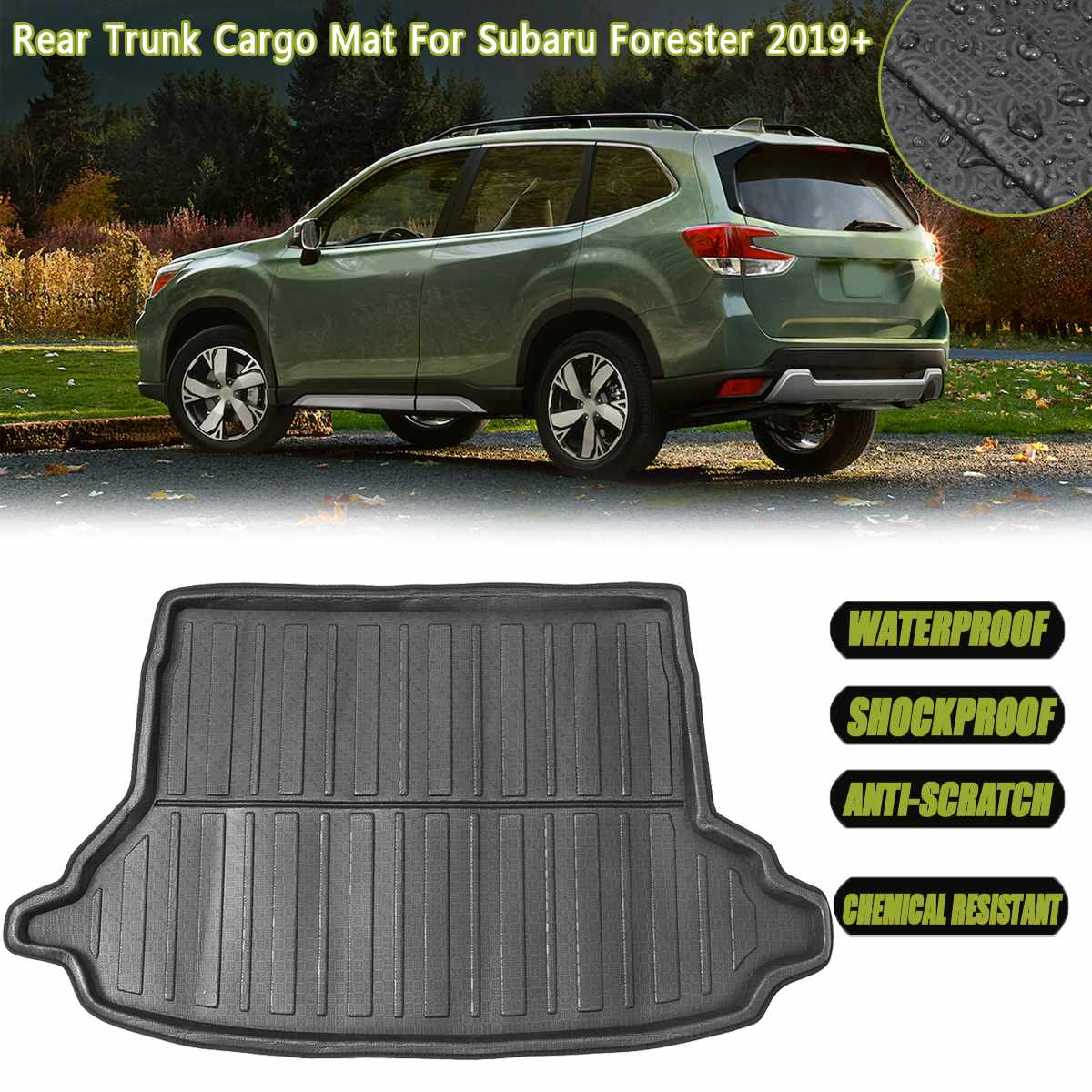 Car Boot Cargo Liner Tray Trunk Floor Mat Liner Carpet Tray For Subaru Forester 2019+ Waterproof Car Styling Auto Floor Mat Part