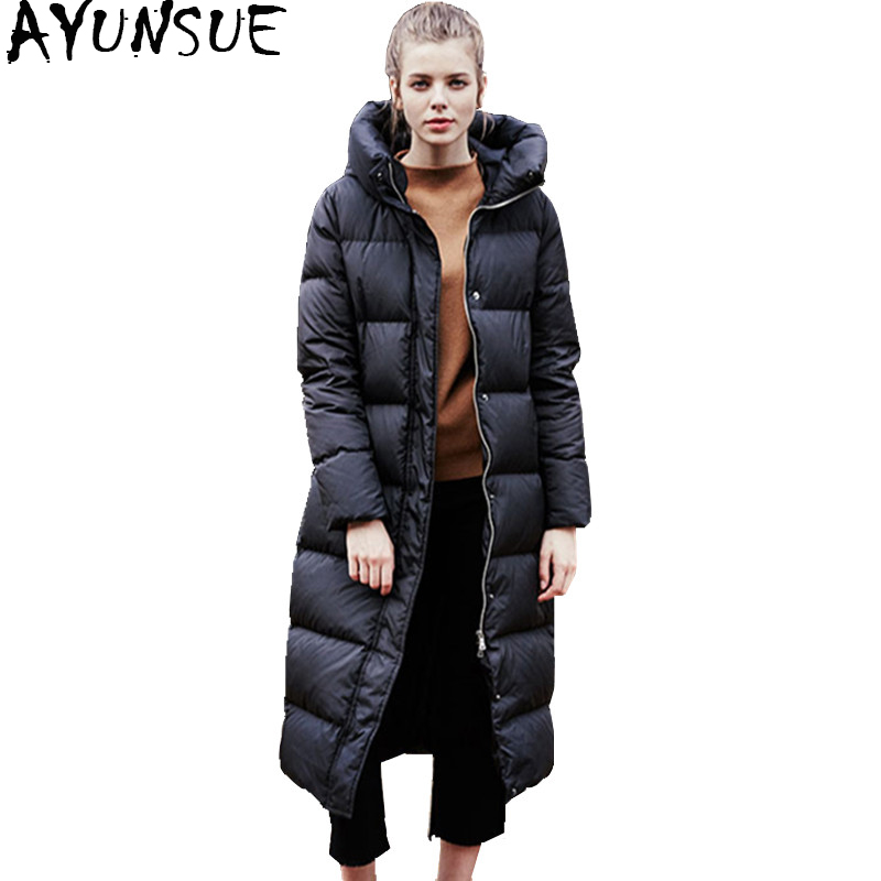 AYUNSUE Fashion Winter   Down   Jacket Women 90% Duck   Down     Coat   Female Long Parka Elegant Jackets Hooded Ladies Outerwear WYQ798