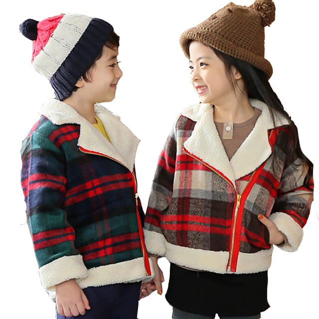 ZiKa 3-8Y Girls Boys Coats Toddler Plaid  Jackets Autumn Korean Baby Boy Girl  Thick Woolen Overcoat Kids Slim Outwear tyh-50985