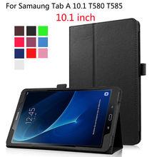 PU Funda de piel Para Samsung Galaxy Tab Un A6 10.1 2016 T580 T580N SM-T580 T585 Cubierta Casos Funda Tablet Soporte Del Tirón Inteligente Shell