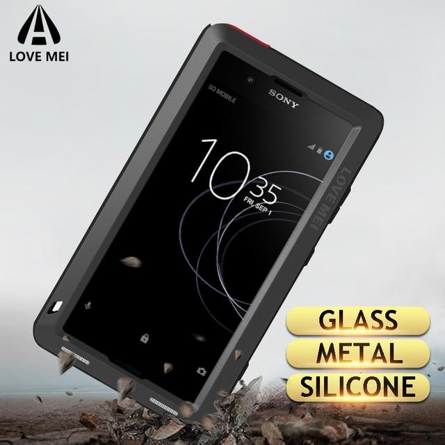 Amo Caixa De Metal Mei Para Sony Xperia XZ3 XZ2 XZ1 XA2 Compacto Ultra 1 10 Plus XZ Prémio Armadura À Prova de Choque telefone Da Tampa do Caso Robusto