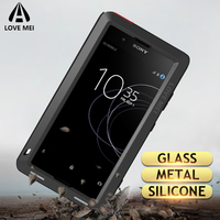 Love Mei Metal Case For Sony Xperia XZ3 XZ2 XZ1 Compact XA2 Ultra 1 10 Plus XZ Premium Armor Shockproof Phone Case Rugged Cover