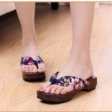 bc8aa3f0714 Sandalias de madera 2018 nueva moda Retro estilo japonés zuecos moda flip  Flop zapatillas de madera