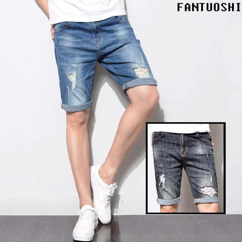 New Fashion Mens Ripped Short Jeans straight Summer 98% Cotton Elasticity Shorts Breathable Denim Male hole ripped