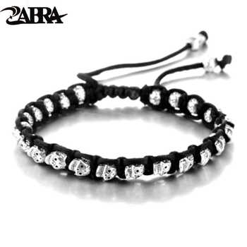 ZABRA Real 925 Silver Bracelet Men Vintage Skull Rope Mens Bracelets For Women Handmade Sterling Birthday Halloween Jewelry - DISCOUNT ITEM  30% OFF All Category