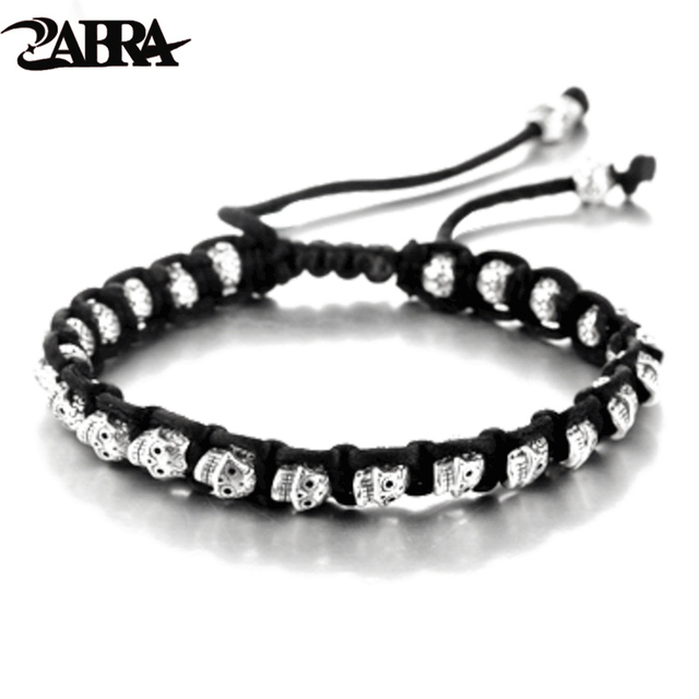 ZABRA Real 925 Silver Bracelet Men Vintage Skull Rope Mens Bracelets For Women Handmade Sterling