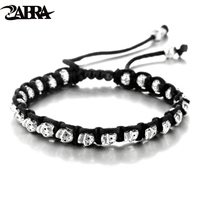 ZABRA Real 925 Silver Bracelet Men Vintage Skull Rope Mens Bracelets For Women Handmade Sterling Silver Jewelry