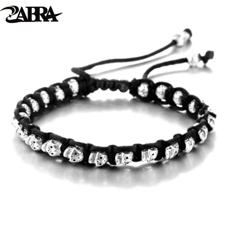 ZABRA Real 925 Silver Bracelet Men Vintage Skull Rope Mens Bracelets For Women Handmade Sterling Silver Jewelry