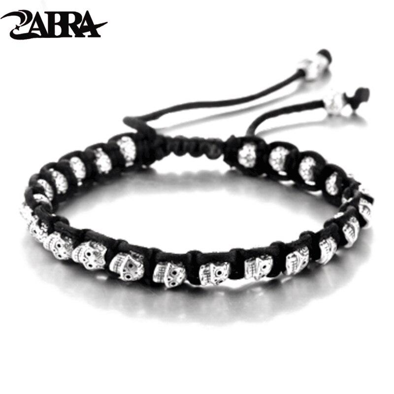 ZABRA réel 925 Bracelet en argent hommes Vintage crâne corde hommes bracelets pour femme à la main en argent Sterling bijoux