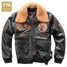 Inverno novo dos homens genuínos jaquetas de couro de ovelha casacos piloto couro natural m casual gola lã destacável sobretudos