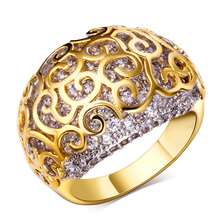 Environmental Micro-Inserted 2017 Trendy Jewelry Ring in gold plated with tiny cz ring Sparkly Zircon Ring for party