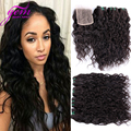 Indian Virgin Hair Water Wave with Lace Closure 4pcs VIP Beauty India Remy Curly Hair Extension Natural Black Bele Ocean Weave