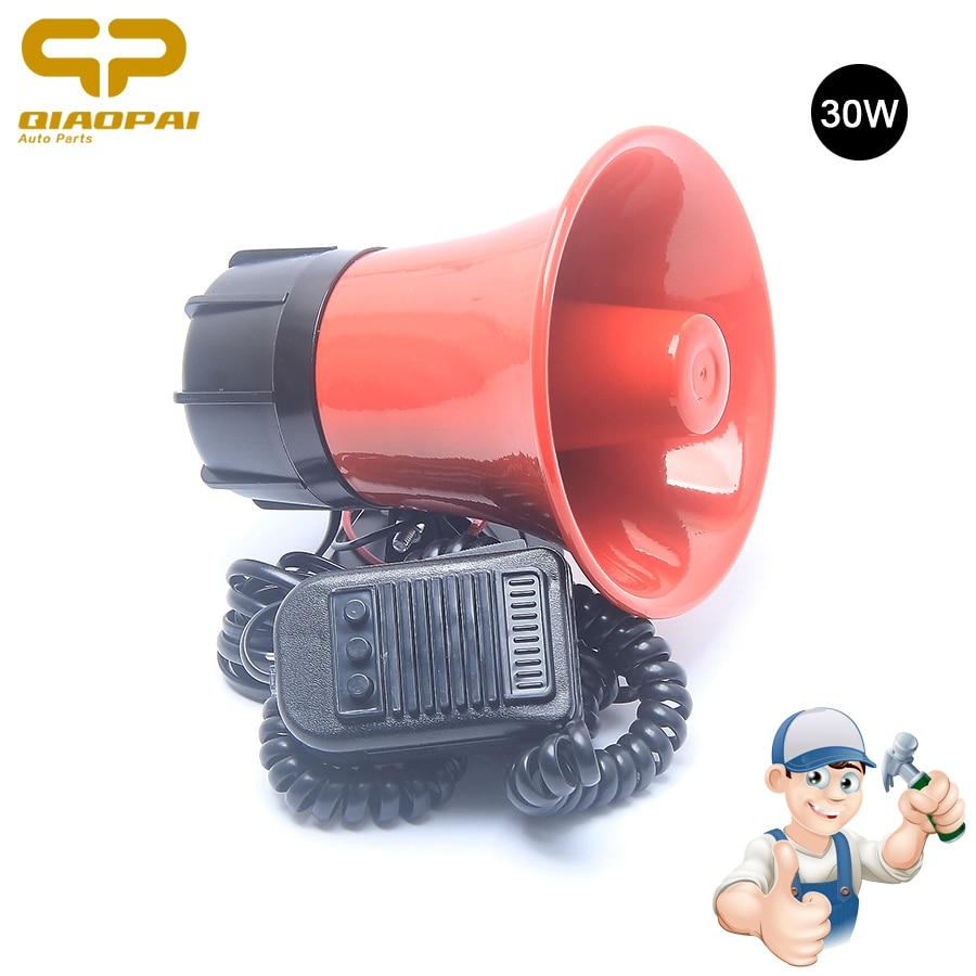 цена Universal Police Siren Sound Horn Loudspeaker 12V 30W Super Loud Horn Car Megaphone Speeker Siren Alarm Police Metal Truck Horn в интернет-магазинах