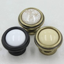 32mm Bronze Kichen Cabinet Knob Ceramic Drawer Knob Pull Antique brass Dresser Cupboard Door Handle Knob Porcelain Knobs Vintage