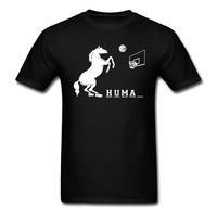 NEW ARRIVAL SUMMER T SHIRT HORSE PLAY BASKETALL FUNNY DESIGN WOMEN MEN SHORT SLEEVE COTTON TOP