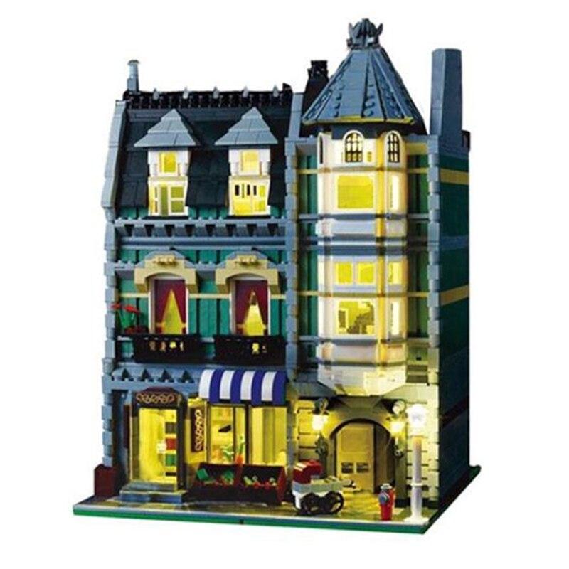 WAZ Compatible Legoe 10185 Lepin 15008 15008B 2462Pcs City Street Green Grocer Model building blocks bricks toys for children 15008b 2462pcs dhl city street green grocer model building kits blocks bricks toys gifts compatible 10185 lepin