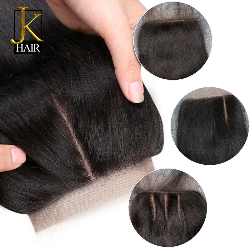 Closure Remy Silk Base Human-Hair Lace Pre-Plucked Straight Peruvian Sew in with JK 3-Layers