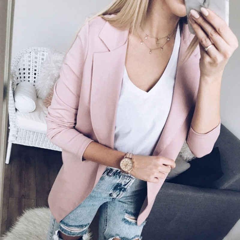 De moda de talla grande ajustados Casual de manga larga chaqueta para mujer Feminino Blazers delgados y chaquetas Tops traje de cárdigan abierto con costura prendas de vestir