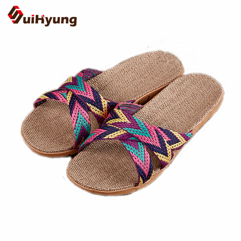 Suihyung Women Summer Flax Slippers Flats Colored Cross Belt Casual Home Slippers Flip Flops Female Indoor Shoes Woman Sandals