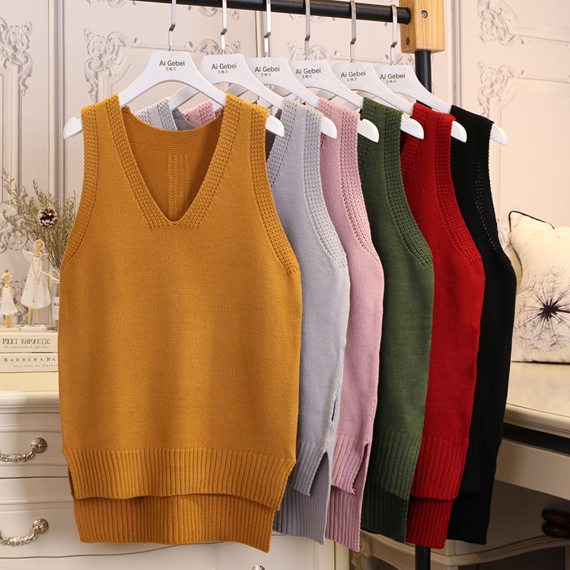 Fall winter 2019 New fashion Autumn Loose sleeveless V neck knitted vest & dress women sweater all-match pullover full femme