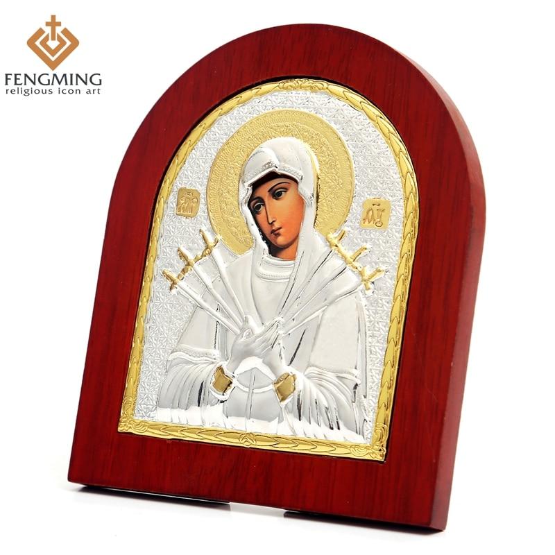 11 * 13cm Custom ortodoks rus shtatë shpata ikona fetare mari e virgjër e dhuratave të pagëzimit të krishterë druri dekoratë shitje e nxehtë