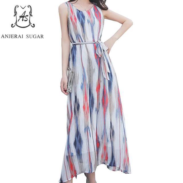 2019 summer dress women plus size Sleeveless bohemian beach vestidos sexy printing striped maxi dress chiffon boho long dresses