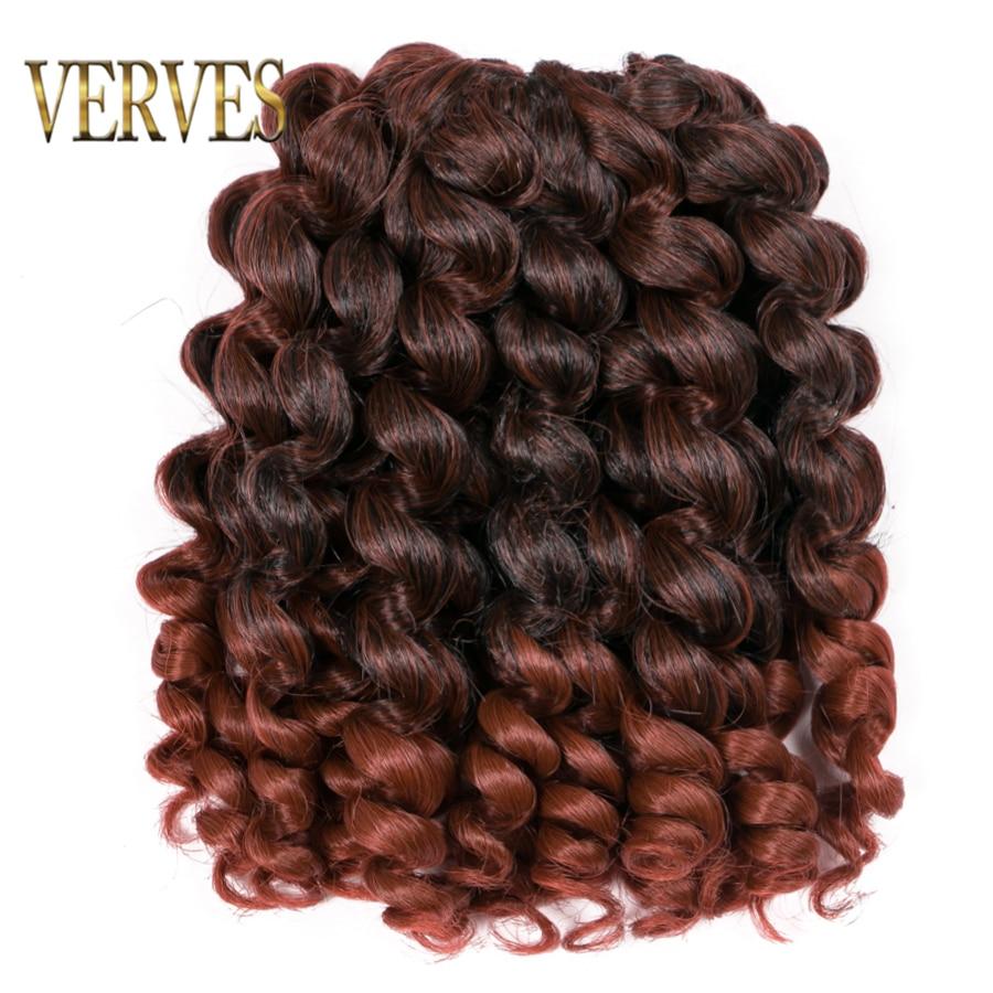 VERVES Jumpy Wand Jamaican Bounce Curl 8 inch Crochet Hair Crochet Braids Hair Extensions Ombre Kanekalon Braiding Hair
