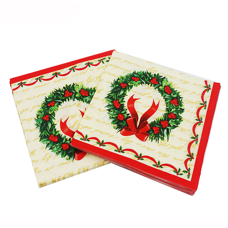 New Christmas Garland Printed Feature Paper Napkins for Party Decoration Tissue Decoupage Servilleta 33cm*33cm 20pcs/pack/lot