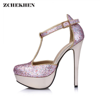 Sexy Party Shoes Women Sequins T Strap Platform High Heels Pumps Elegant Stiletto Thin High Heel
