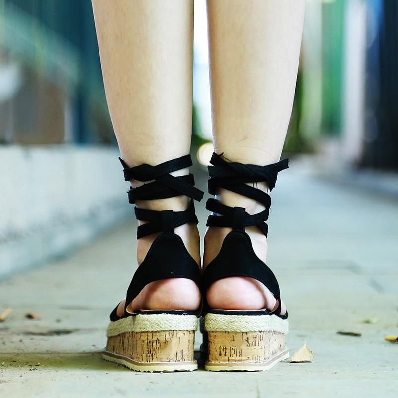 Summer White Wedge Espadrilles Women Sandals Open Toe Gladiator Sandals Women Casual Lace Up Women Platform Sandals