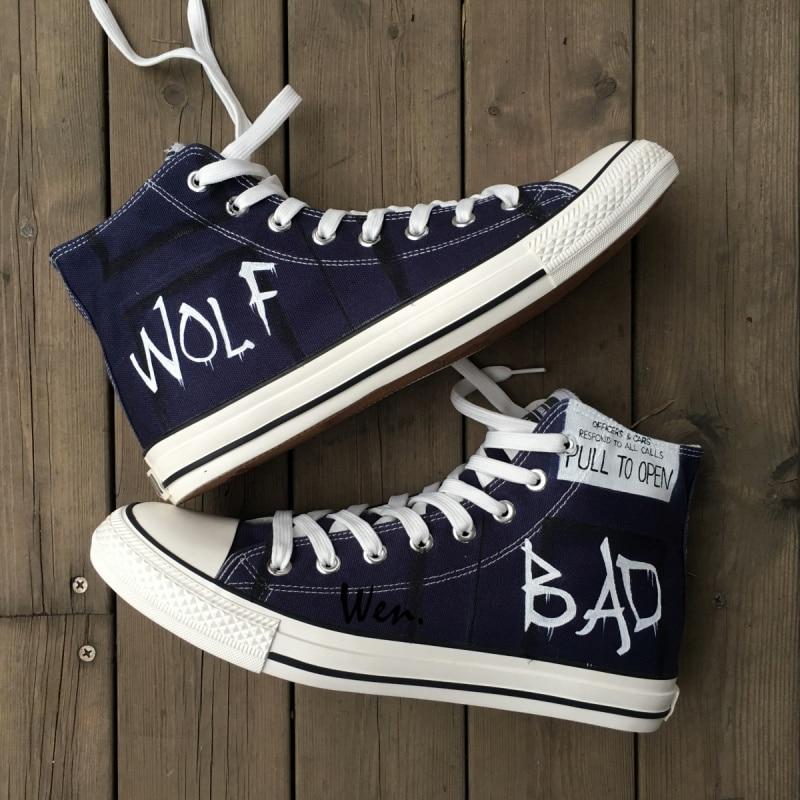 Wen håndmalede lærredsko Design Custom Doktor Hvem Tradis-Police-Box BAD WOLF Man Woman's High Top Canvas Sneakers