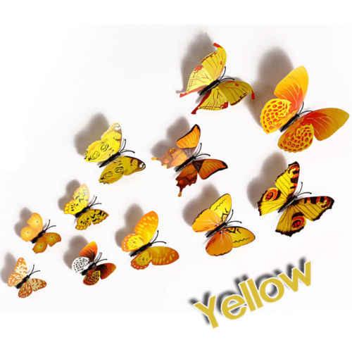 Niños arte imanes decoración 12 piezas 3D mariposa calcomanías de pared pegatina extraíble 3 dimensional pegatinas decorativas