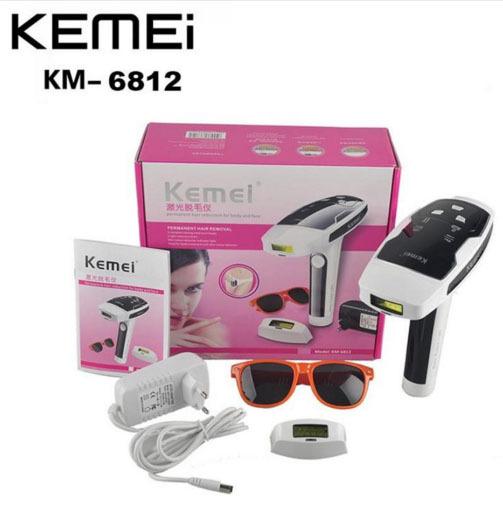 KM-6812 Recarregável Photon Dispositivo Da Remoção Do Cabelo redução Permanente do cabelo para Depilação A Laser Depilador de Corpo inteiro