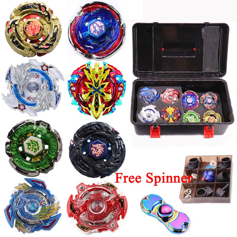 8pcs/Luxury Beyblade Set (8 Beys+3 Lauchers+1 Handle+1 Plastic Box+spare Parts)Metal Fusion 4D Spinning Top Toys Gift For Kids