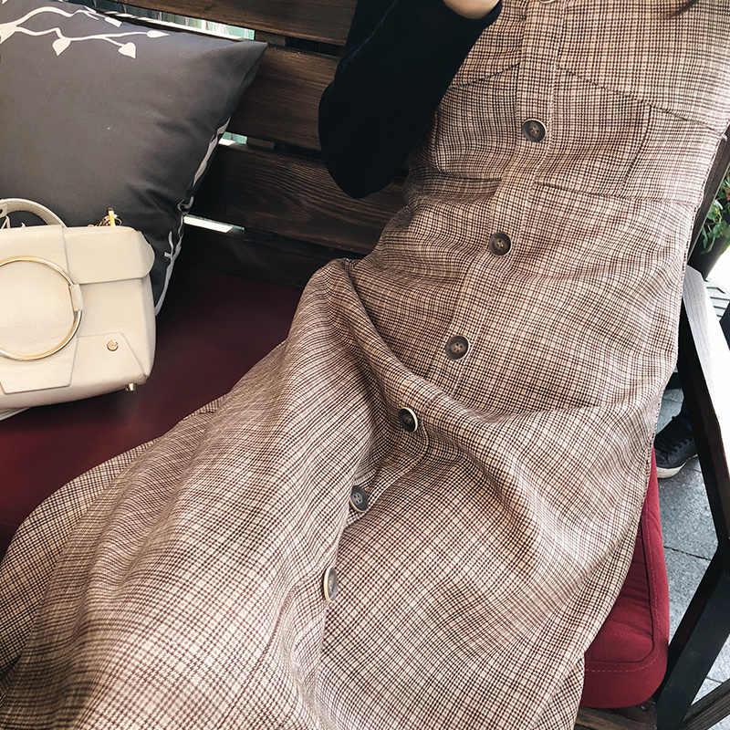 Mishow Платье женское сарафан в клетку с кнопками MX18C1186