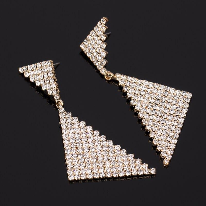 Female accessories earring triangle double rhinestone bling stud earring fashion big earrings big stud earring #E065