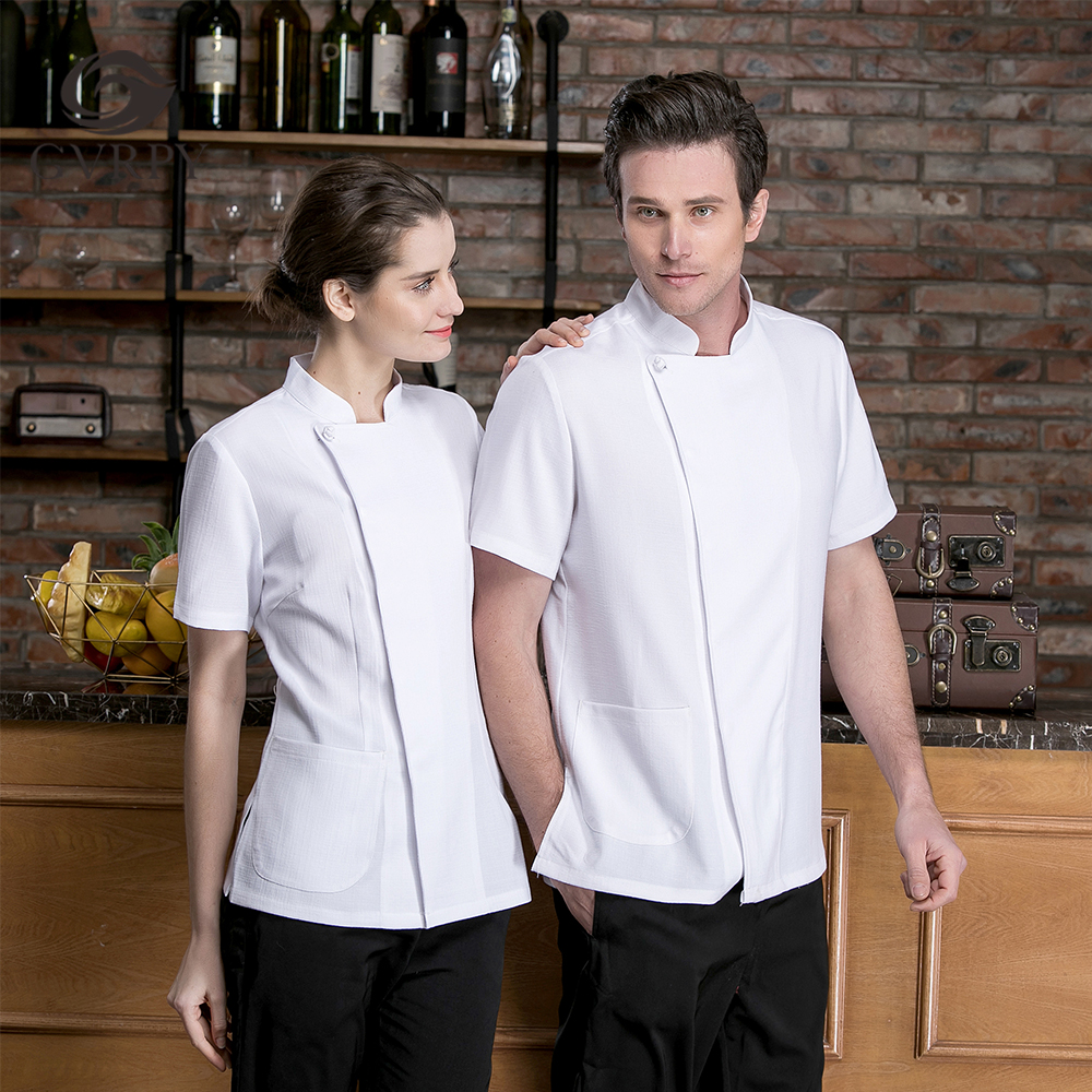 Summer Unisex Solid Color Cotton Single-breasted Short-sleeved Chef Cooking Uniform Restaurant Restaurant Cafe Waiter Work Shirt