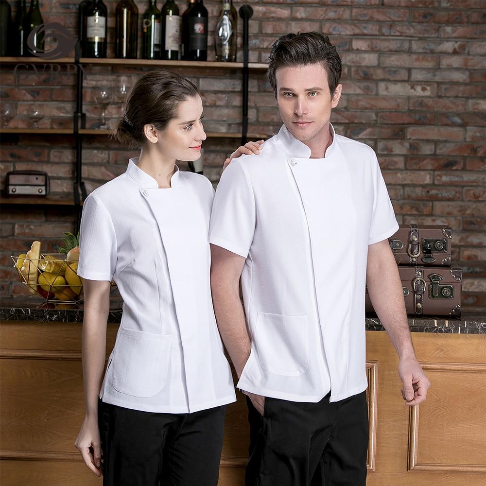 Summer Unisex Solid Color Cotton Single-breasted Short-sleeved Chef Cooking Uniform Restaurant Restaurant Cafe Waiter Work Shirt