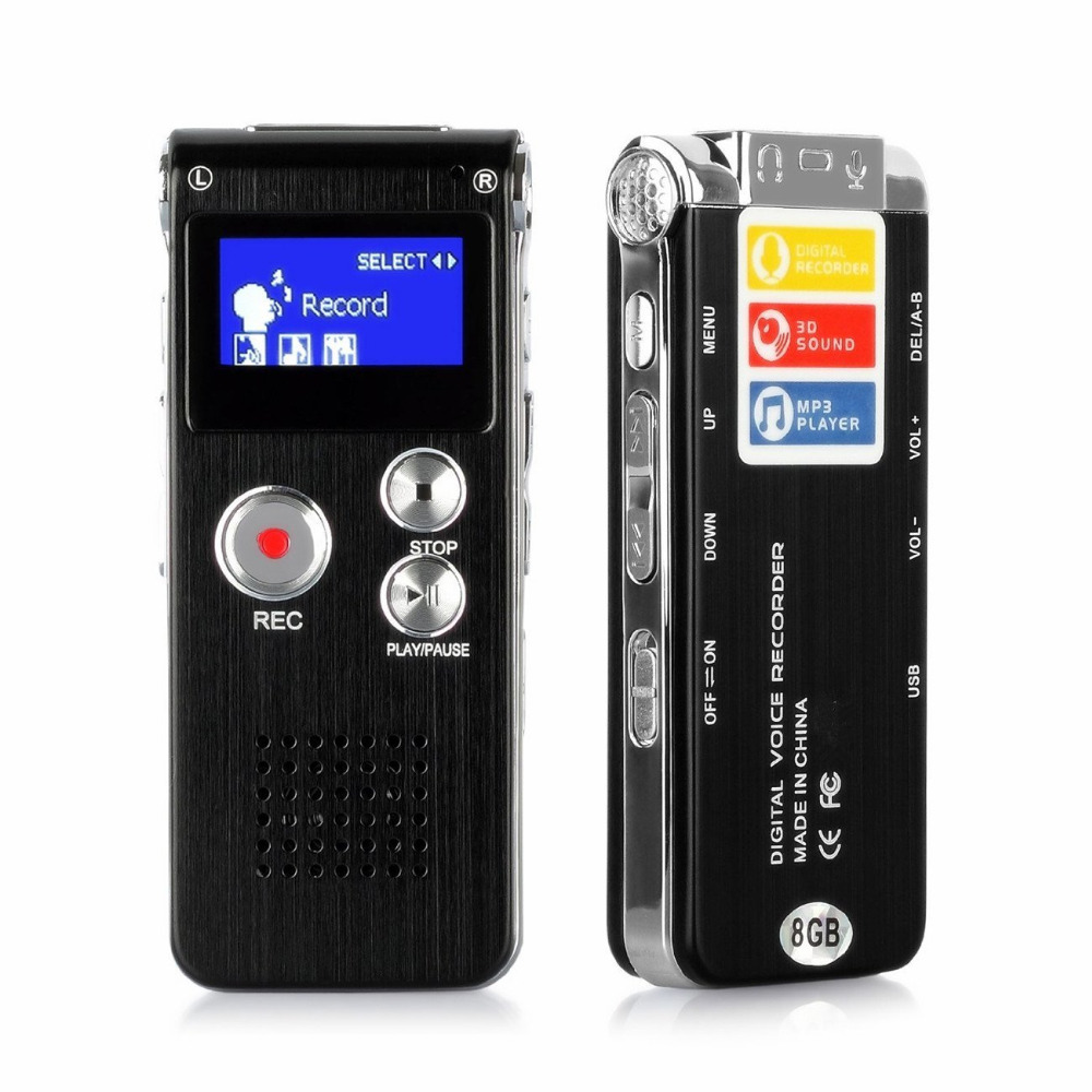 8GB Digital Audio Voice Recorder Multifunctional Rechargeable Dictaphone MP3 Player Black