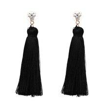 New Arrival 8 Colors Long Yarn Tassel Flower  Shape Dangle Earring Trendy Classic Statement Brincos  For Women Wholesale