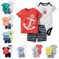 Ropa Del Bebé Del Verano, Bebes Recién Nacidos, 3 pieza de conjunto bebé ropa de bebé carter Algodón Camiseta y Pantalones Cortos set