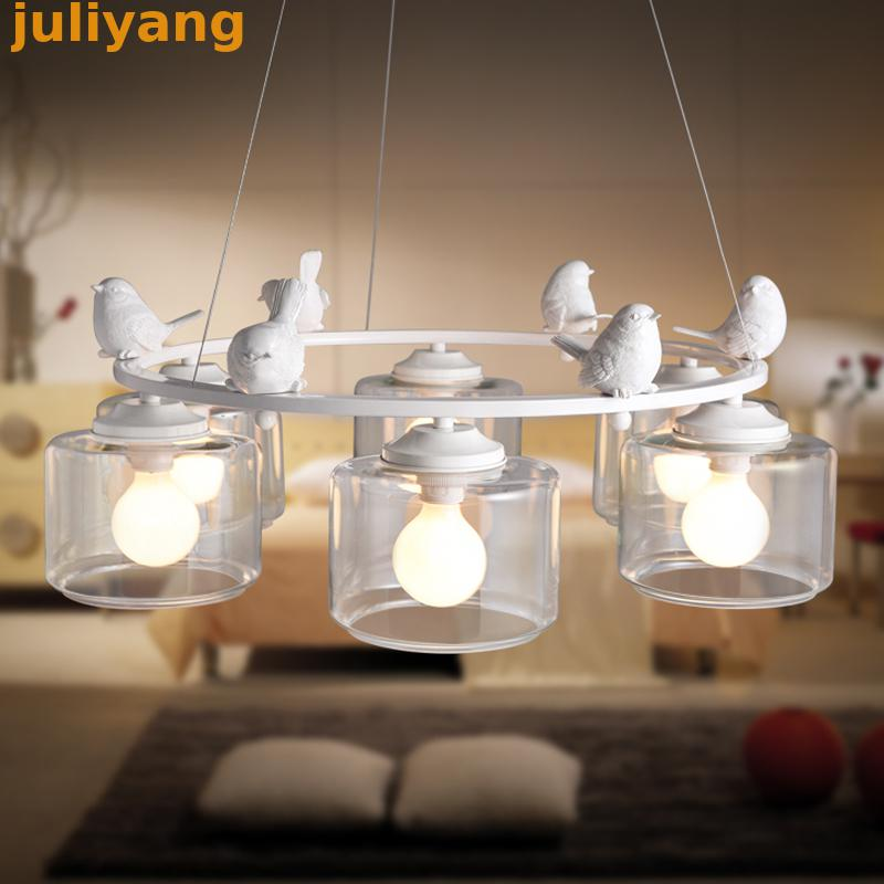 Nordic Creative Six Head  Bird Chandeliers For Dining Room Art Deco Led Bulbs Modern Chandelier Glass Chandelier