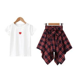 Image 5 - ファッション十代の服の服2019夏ソフト綿tシャツ格子縞のスカートショーツ子供服スーツ2個子供セット