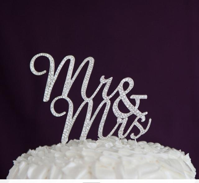Mru0026Mrs Rhinestone Wedding Cake Topper For Wedding Anniversary Day Letter  Design