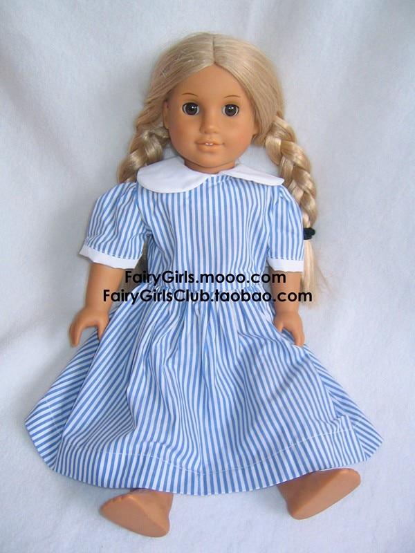 Разноцветный American Girl Doll в полоску платье в клетку костюм для 18 дюймов девушка Куклы & American Girl Куклы ...