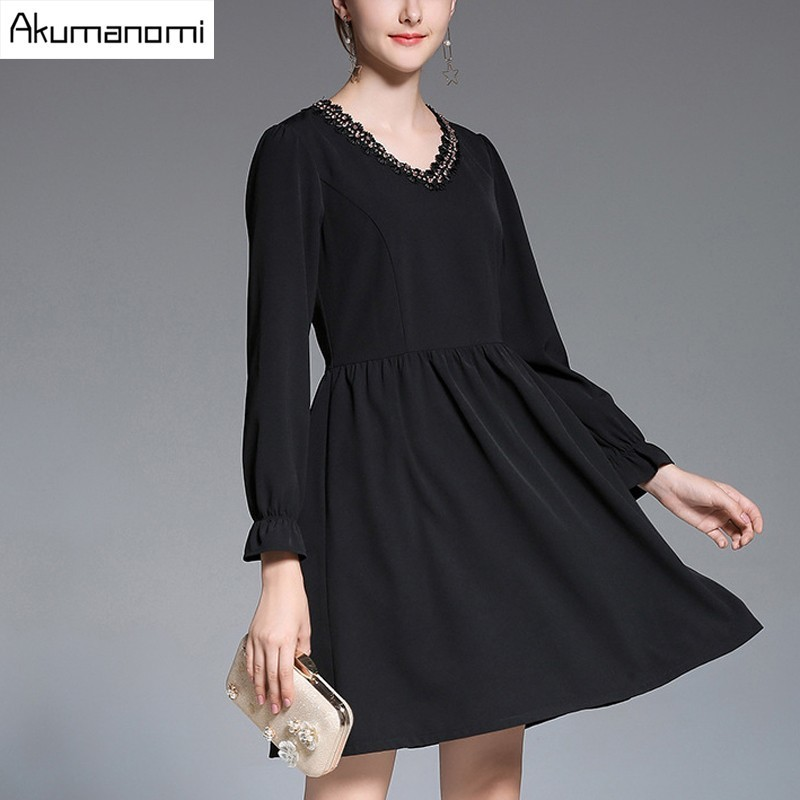 Automne mousseline de soie robe dentelle v-cou Empire taille lanterne manches plissée vêtements pour femmes printemps a-ligne robe grande taille 5XL 4XL 3XL-M